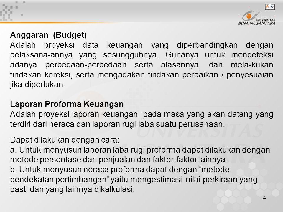 4 Anggaran (Budget) Adalah proyeksi data keuangan yang diperbandingkan dengan pelaksana-annya yang sesungguhnya.