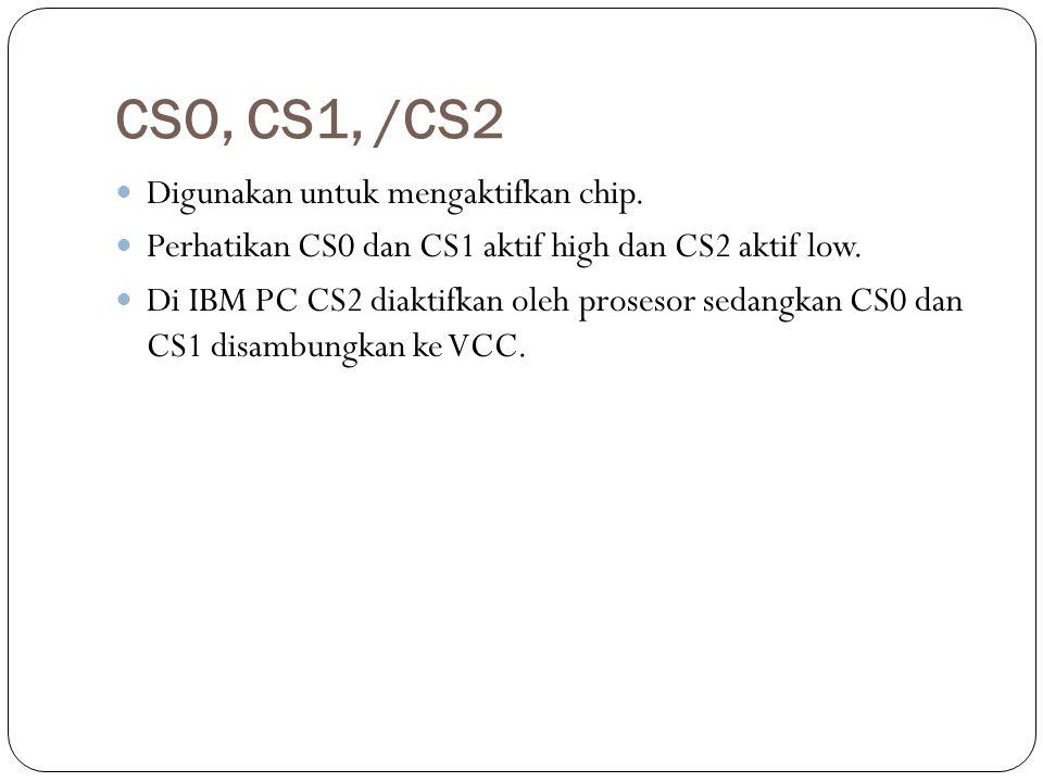 CSO, CS1, /CS2 Digunakan untuk mengaktifkan chip. Perhatikan CS0 dan CS1 aktif high dan CS2 aktif low. Di IBM PC CS2 diaktifkan oleh prosesor sedangka