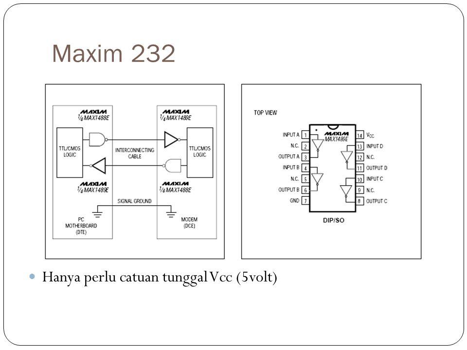 Syarat komunikasi serial RS-232 Kedua pihak yang berkomunikasi harus = Baud rate (contoh 300/9600/16000 sd 128k) bps) Panjang data (contoh 5/6/7/8 bit) Aturan parity (contoh : Even/Odd/None) Stop bit (contoh : 1/1.5/2)