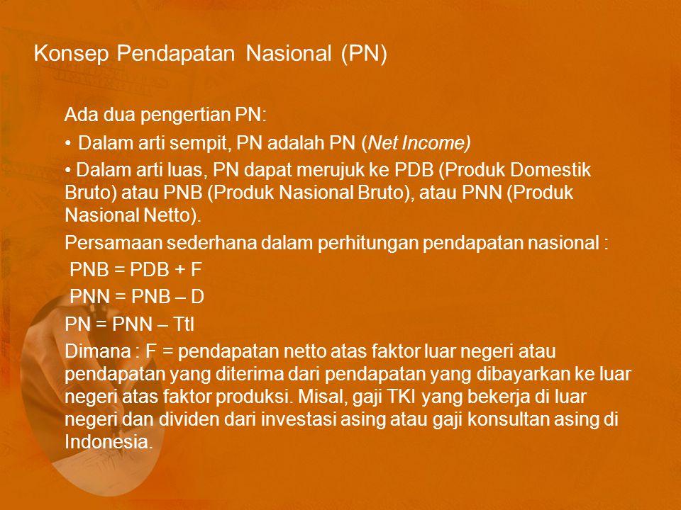 Konsep Pendapatan Nasional (PN) Ada dua pengertian PN: Dalam arti sempit, PN adalah PN (Net Income) Dalam arti luas, PN dapat merujuk ke PDB (Produk Domestik Bruto) atau PNB (Produk Nasional Bruto), atau PNN (Produk Nasional Netto).