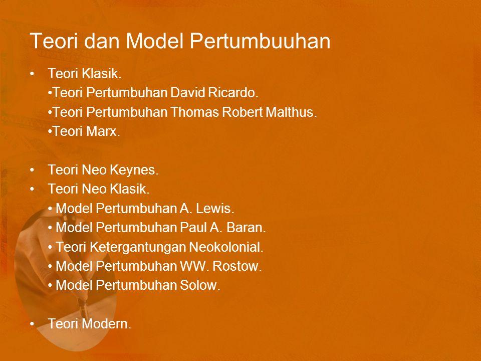 Teori dan Model Pertumbuuhan Teori Klasik.Teori Pertumbuhan David Ricardo.