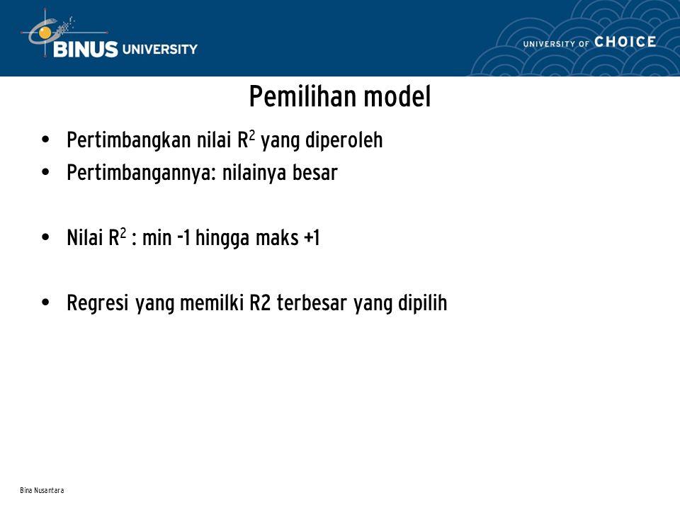 Bina Nusantara Pemilihan model Pertimbangkan nilai R 2 yang diperoleh Pertimbangannya: nilainya besar Nilai R 2 : min -1 hingga maks +1 Regresi yang m