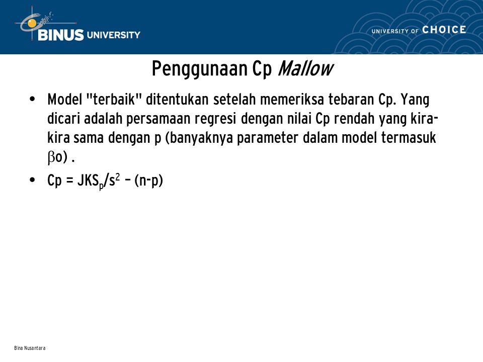 Bina Nusantara Penggunaan Cp Mallow Model