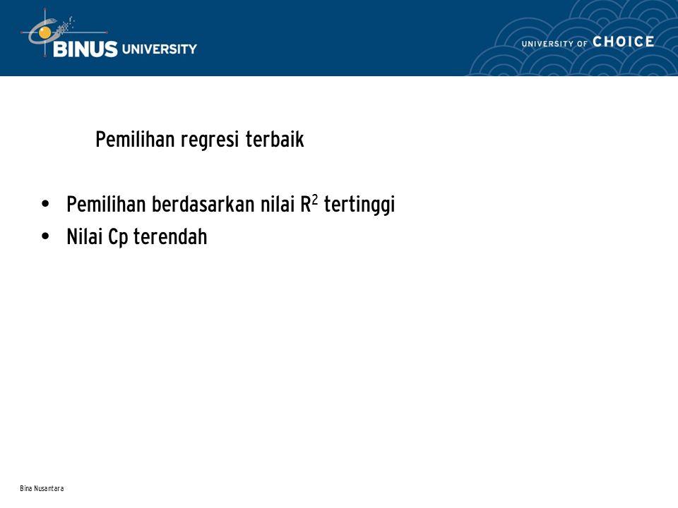 Bina Nusantara Pemilihan regresi terbaik Pemilihan berdasarkan nilai R 2 tertinggi Nilai Cp terendah