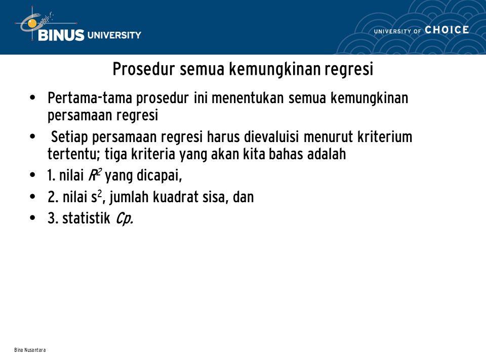 Bina Nusantara Prosedur semua kemungkinan regresi Pertama-tama prosedur ini menentukan semua kemungkinan persamaan regresi Setiap persamaan regresi ha