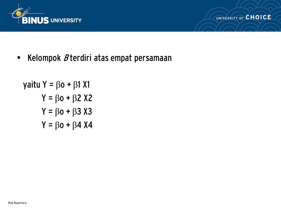 Bina Nusantara Kelompok B terdiri atas empat persamaan yaitu Y = β o + β 1 X1 Y = β o + β 2 X2 Y = β o + β 3 X3 Y = β o + β 4 X4