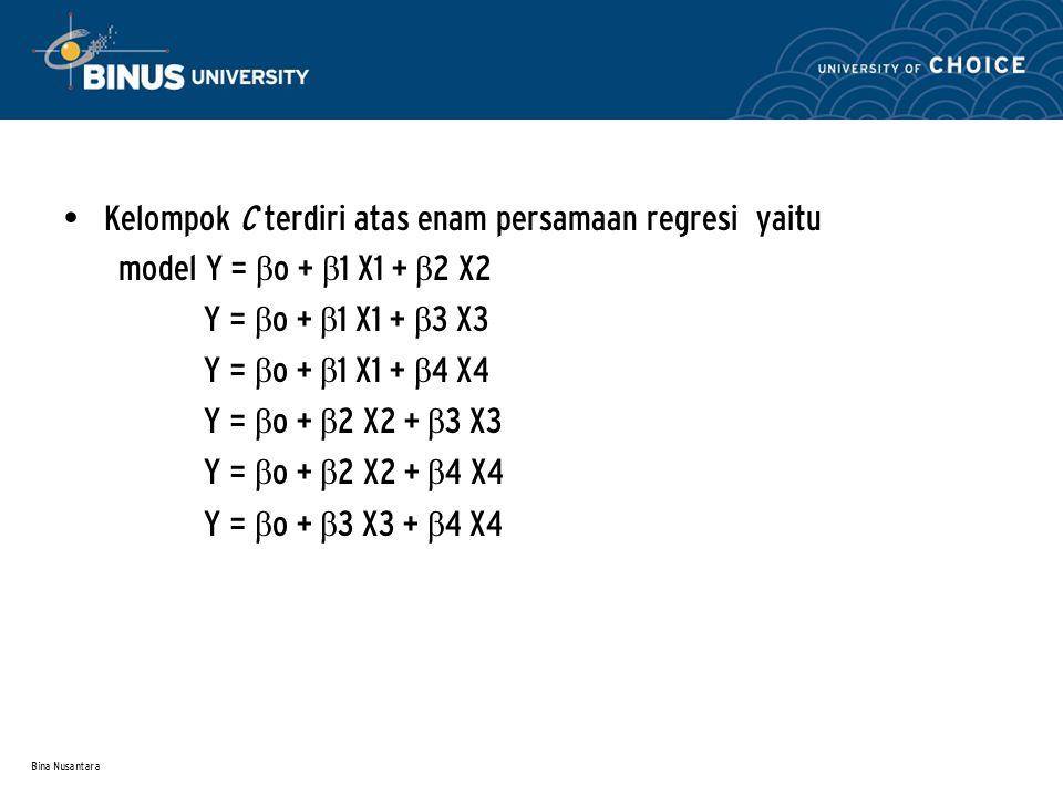 Bina Nusantara Kelompok C terdiri atas enam persamaan regresi yaitu model Y = β o + β 1 X1 + β 2 X2 Y = β o + β 1 X1 + β 3 X3 Y = β o + β 1 X1 + β 4 X