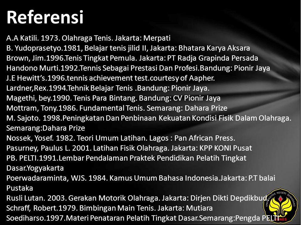 Referensi A.A Katili. 1973. Olahraga Tenis. Jakarta: Merpati B. Yudoprasetyo.1981, Belajar tenis jilid II, Jakarta: Bhatara Karya Aksara Brown, Jim.19