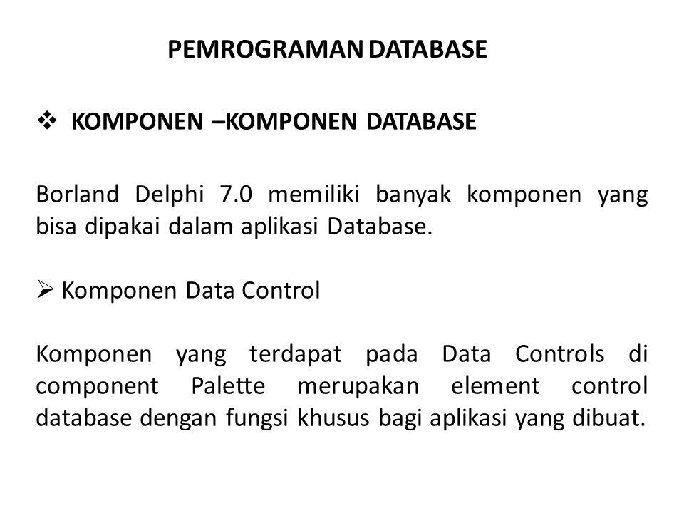 PEMROGRAMAN DATABASE  KOMPONEN –KOMPONEN DATABASE Borland Delphi 7.0 memiliki banyak komponen yang bisa dipakai dalam aplikasi Database.  Komponen D