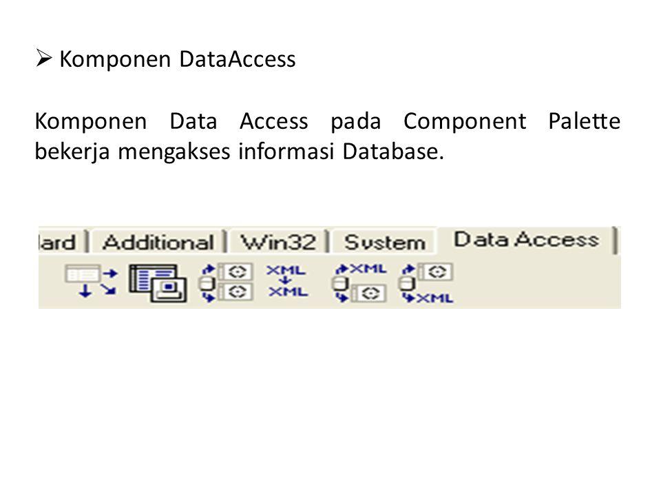  Komponen DataAccess Komponen Data Access pada Component Palette bekerja mengakses informasi Database.