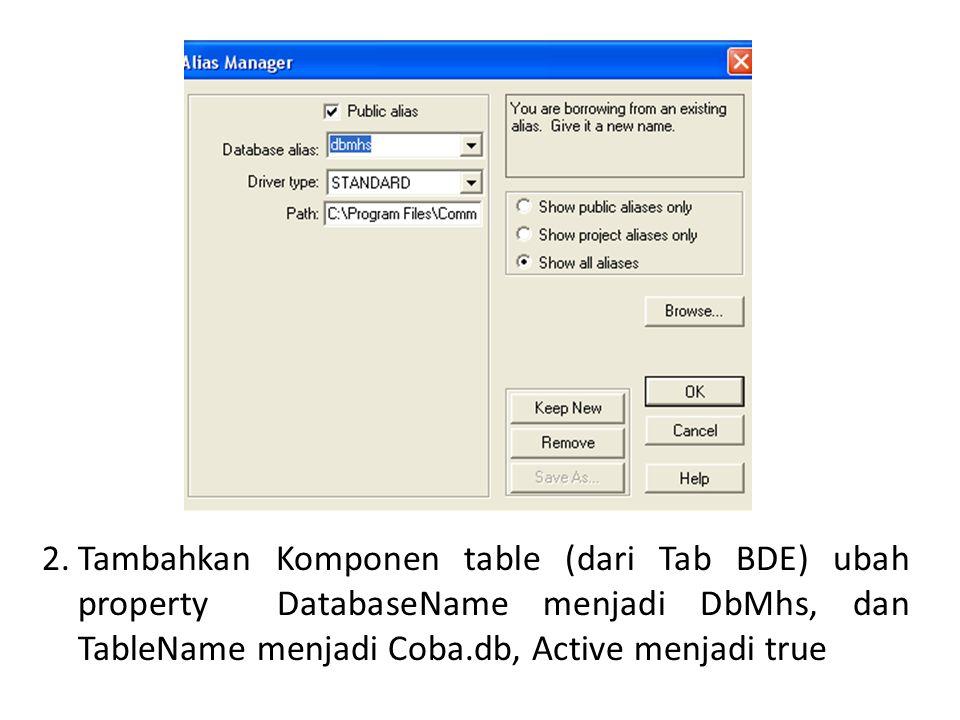 2.Tambahkan Komponen table (dari Tab BDE) ubah property DatabaseName menjadi DbMhs, dan TableName menjadi Coba.db, Active menjadi true