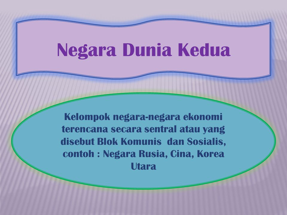 Negara Dunia Kedua Kelompok negara-negara ekonomi terencana secara sentral atau yang disebut Blok Komunis dan Sosialis, contoh : Negara Rusia, Cina, K