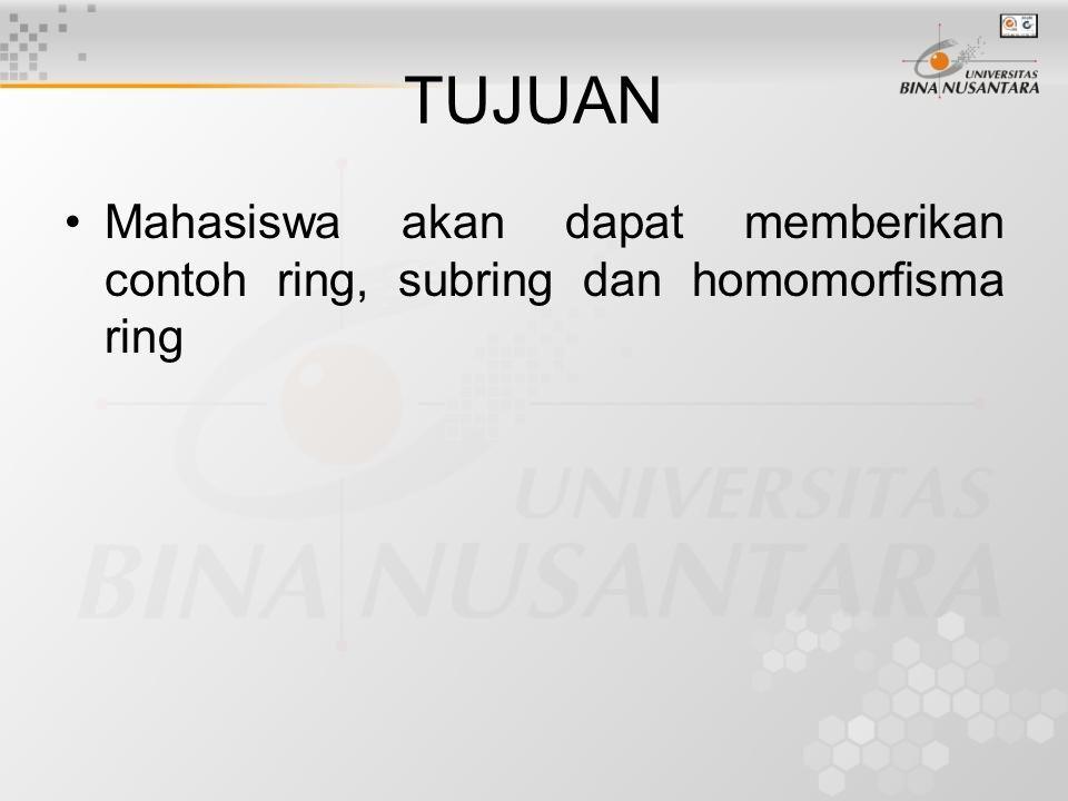 TUJUAN Mahasiswa akan dapat memberikan contoh ring, subring dan homomorfisma ring