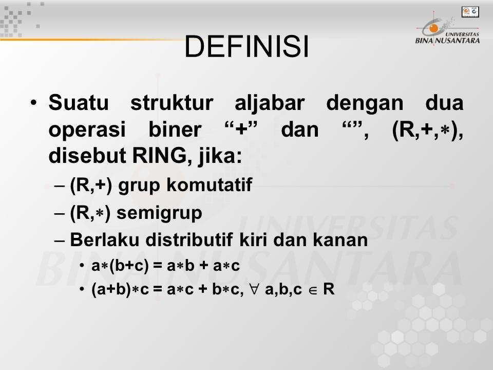 DEFINISI Suatu struktur aljabar dengan dua operasi biner + dan , (R,+,  ), disebut RING, jika: –(R,+) grup komutatif –(R,  ) semigrup –Berlaku distributif kiri dan kanan a  (b+c) = a  b + a  c (a+b)  c = a  c + b  c,  a,b,c  R