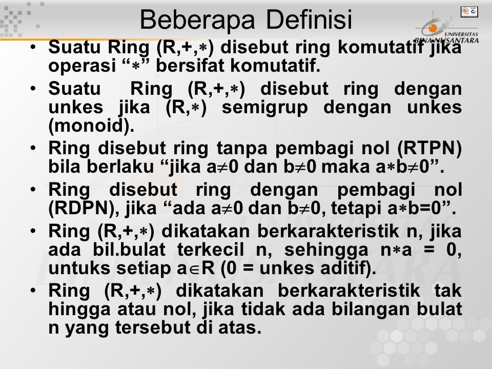 Contoh: Periksa apakah ring/bukan, Bila ring, periksa komutatif/bukan, ada unkes/tidak, RTPN/RDPN, cari karakteristiknya 1.(Z,+,  ), (Q,+,  ), (Q +,+,  ), (R,+,  ), (C,+,  ) 2.Himpunan bil.