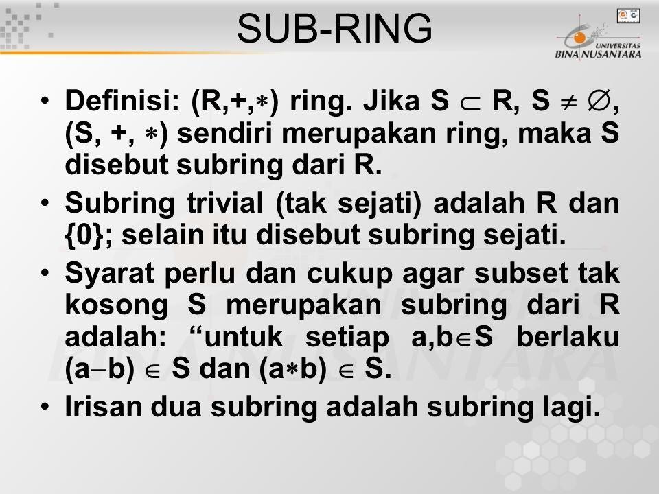 Contoh: 1.(Z,+,  ) ring.Bagaimana (2Z,+,  ). 2.(Z,+,  ) ring.