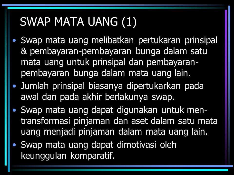 SWAP MATA UANG (1) Swap mata uang melibatkan pertukaran prinsipal & pembayaran-pembayaran bunga dalam satu mata uang untuk prinsipal dan pembayaran- pembayaran bunga dalam mata uang lain.