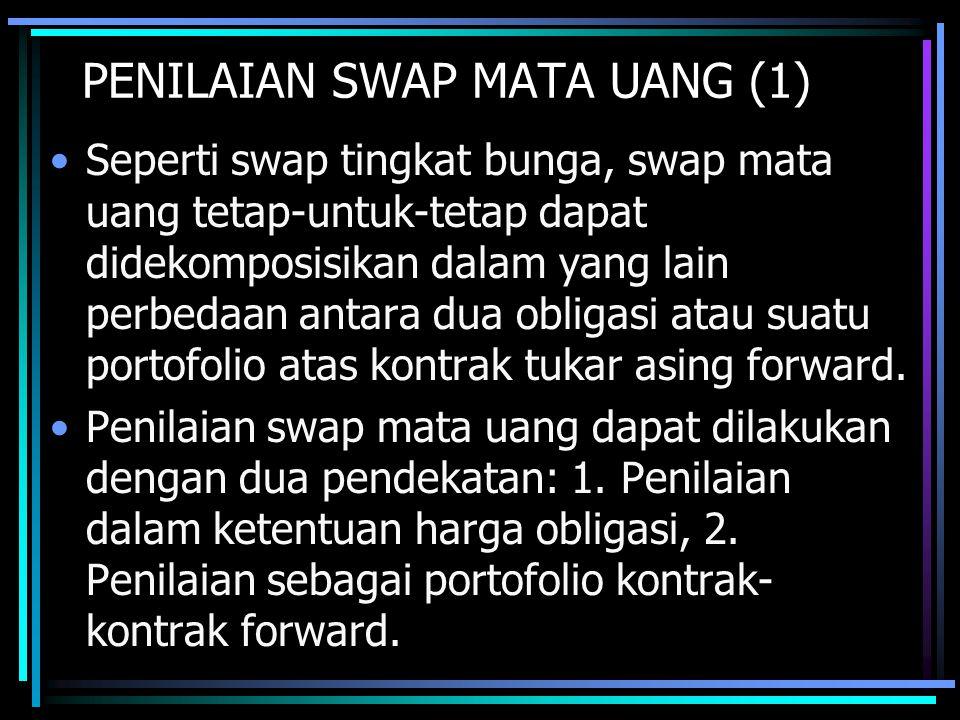 PENILAIAN SWAP MATA UANG (1) Seperti swap tingkat bunga, swap mata uang tetap-untuk-tetap dapat didekomposisikan dalam yang lain perbedaan antara dua obligasi atau suatu portofolio atas kontrak tukar asing forward.