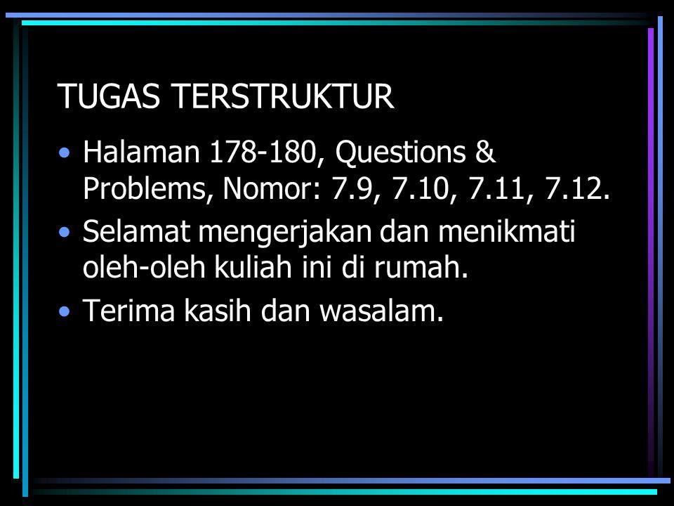TUGAS TERSTRUKTUR Halaman 178-180, Questions & Problems, Nomor: 7.9, 7.10, 7.11, 7.12.