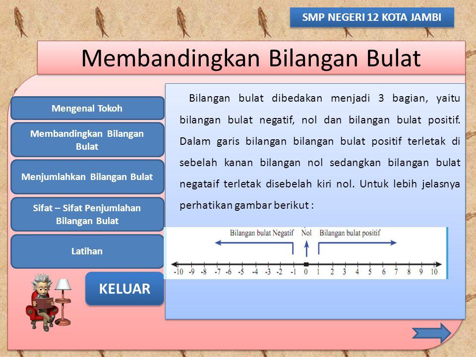 Mengenal Tokoh Membandingkan Bilangan Bulat Menjumlahkan Bilangan Bulat Sifat – Sifat Penjumlahan Bilangan Bulat Latihan KELUAR SMP NEGERI 12 KOTA JAM