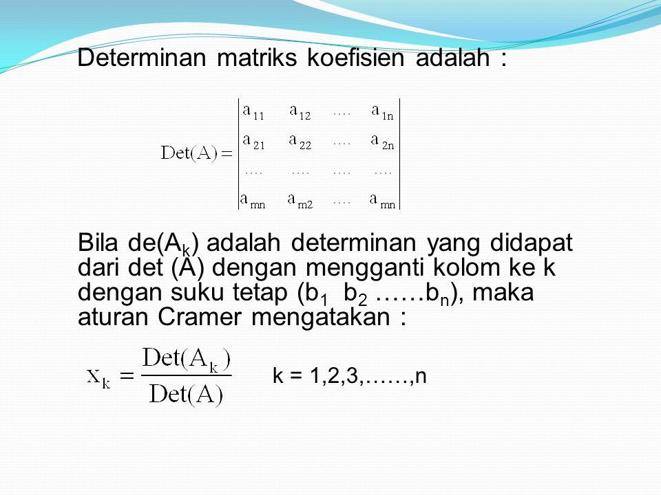 Determinan matriks koefisien adalah : Bila de(A k ) adalah determinan yang didapat dari det (A) dengan mengganti kolom ke k dengan suku tetap (b 1 b 2 ……b n ), maka aturan Cramer mengatakan : k = 1,2,3,……,n
