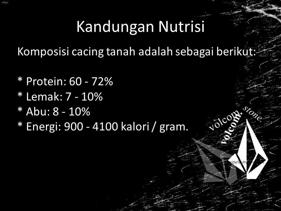 Kandungan Nutrisi Komposisi cacing tanah adalah sebagai berikut: * Protein: 60 - 72% * Lemak: 7 - 10% * Abu: 8 - 10% * Energi: 900 - 4100 kalori / gram.