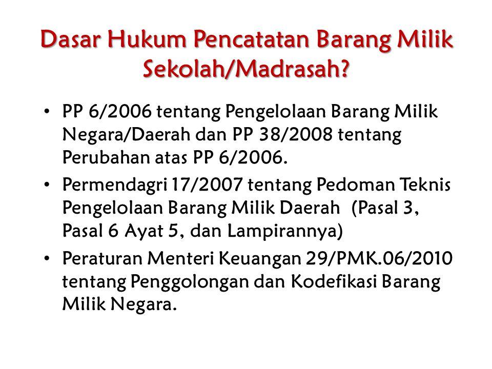 Dasar Hukum Pencatatan Barang Milik Sekolah/Madrasah? PP 6/2006 tentang Pengelolaan Barang Milik Negara/Daerah dan PP 38/2008 tentang Perubahan atas P