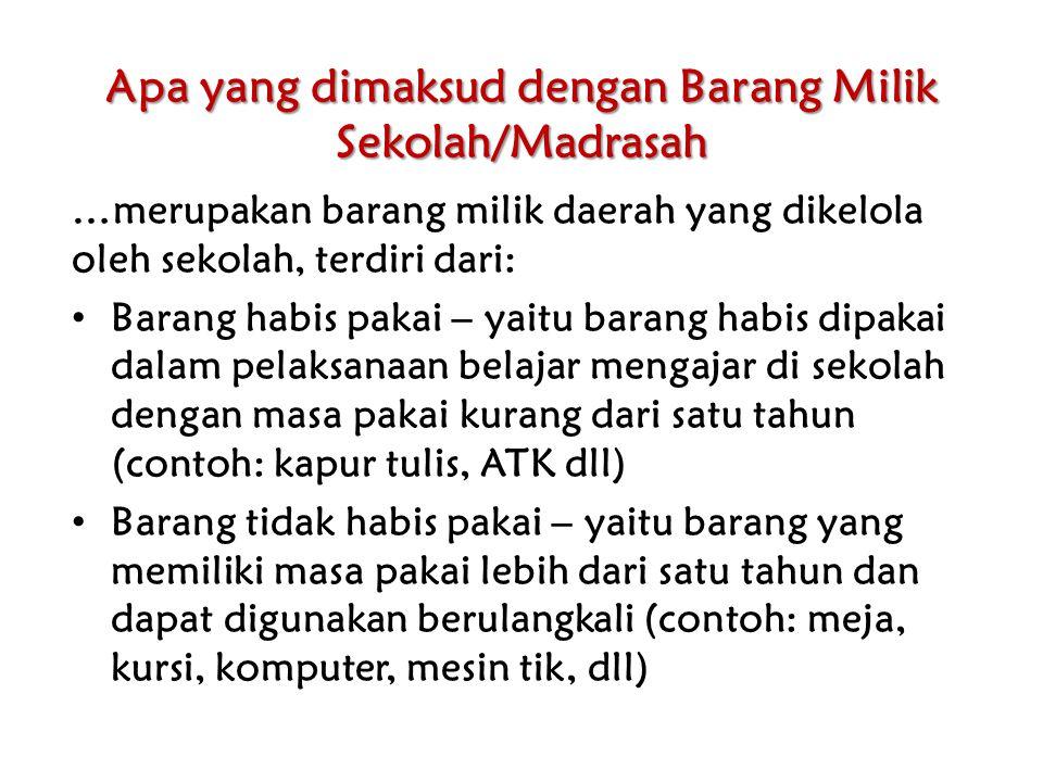 Sumber Barang Milik Sekolah/Madrasah Pembelian yang dilakukan sekolah/madrasah.