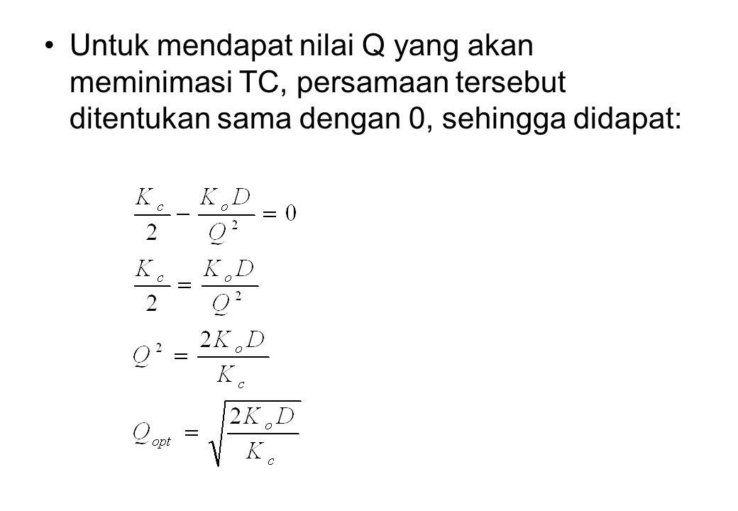 Untuk mendapat nilai Q yang akan meminimasi TC, persamaan tersebut ditentukan sama dengan 0, sehingga didapat: