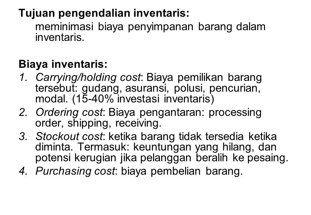 Tujuan pengendalian inventaris: meminimasi biaya penyimpanan barang dalam inventaris. Biaya inventaris: 1.Carrying/holding cost: Biaya pemilikan baran