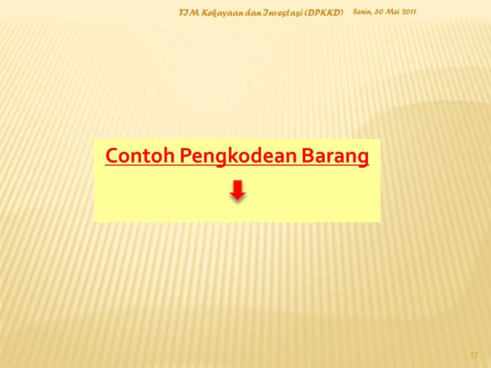 Senin, 30 Mei 2011 TIM Kekayaan dan Investasi (DPKKD) 17 Contoh Pengkodean Barang