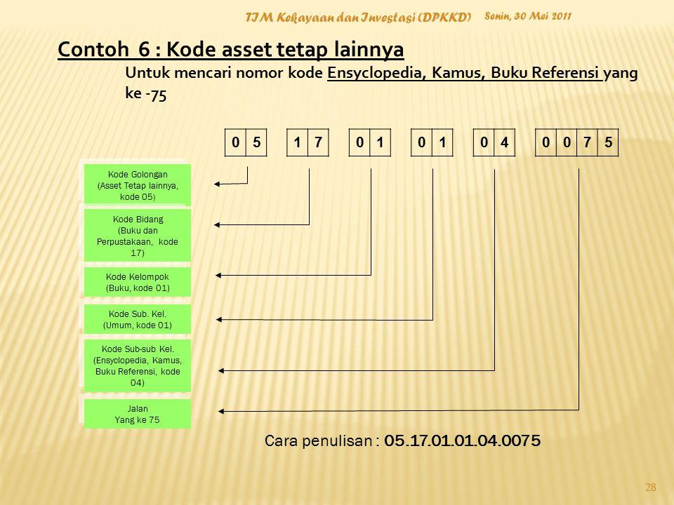 Contoh 6 : Kode asset tetap lainnya Untuk mencari nomor kode Ensyclopedia, Kamus, Buku Referensi yang ke -75 Kode Golongan (Asset Tetap lainnya, kode
