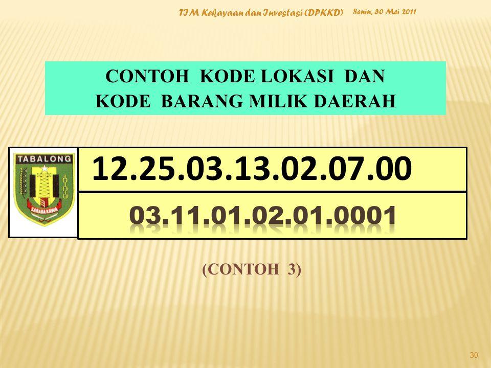 Senin, 30 Mei 2011 TIM Kekayaan dan Investasi (DPKKD) 30 CONTOH KODE LOKASI DAN KODE BARANG MILIK DAERAH LOGO PEMDA (CONTOH 3) 12.25.03.13.02.07.00