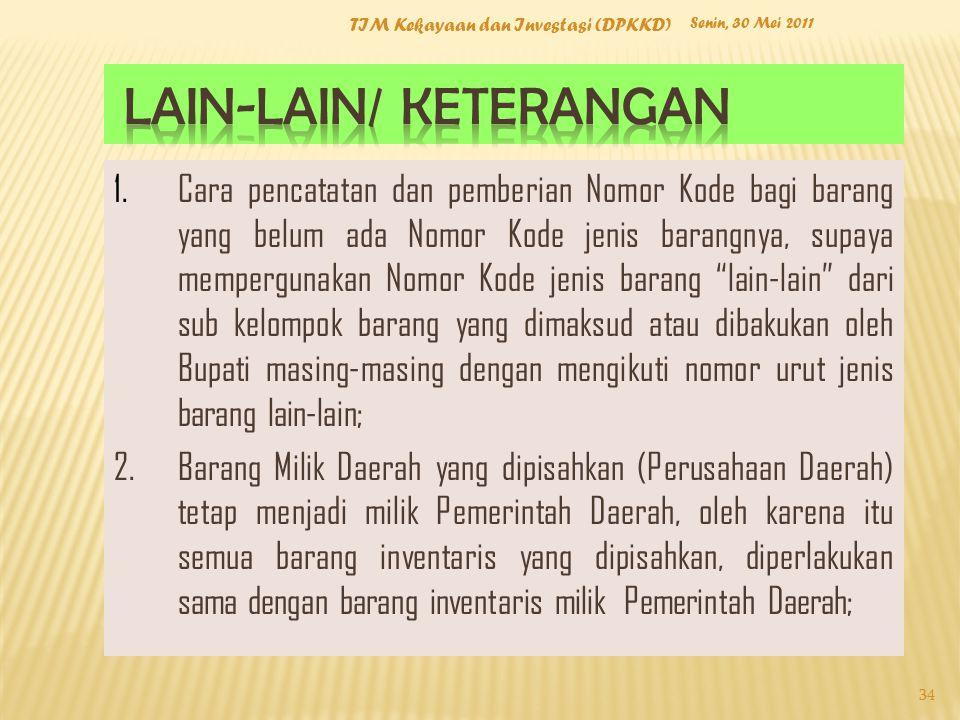 Senin, 30 Mei 2011 TIM Kekayaan dan Investasi (DPKKD) 34 1.Cara pencatatan dan pemberian Nomor Kode bagi barang yang belum ada Nomor Kode jenis barang