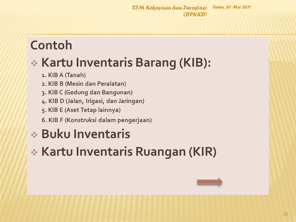 Contoh  Kartu Inventaris Barang (KIB): 1. KIB A (Tanah) 2. KIB B (Mesin dan Peralatan) 3. KIB C (Gedung dan Bangunan) 4. KIB D (Jalan, Irigasi, dan J