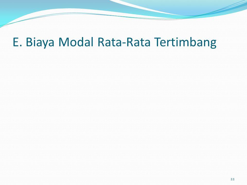 E. Biaya Modal Rata-Rata Tertimbang 22