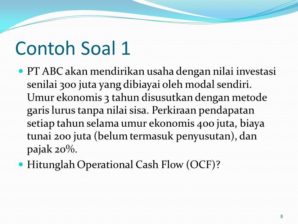 Contoh Soal 1 PT ABC akan mendirikan usaha dengan nilai investasi senilai 300 juta yang dibiayai oleh modal sendiri. Umur ekonomis 3 tahun disusutkan