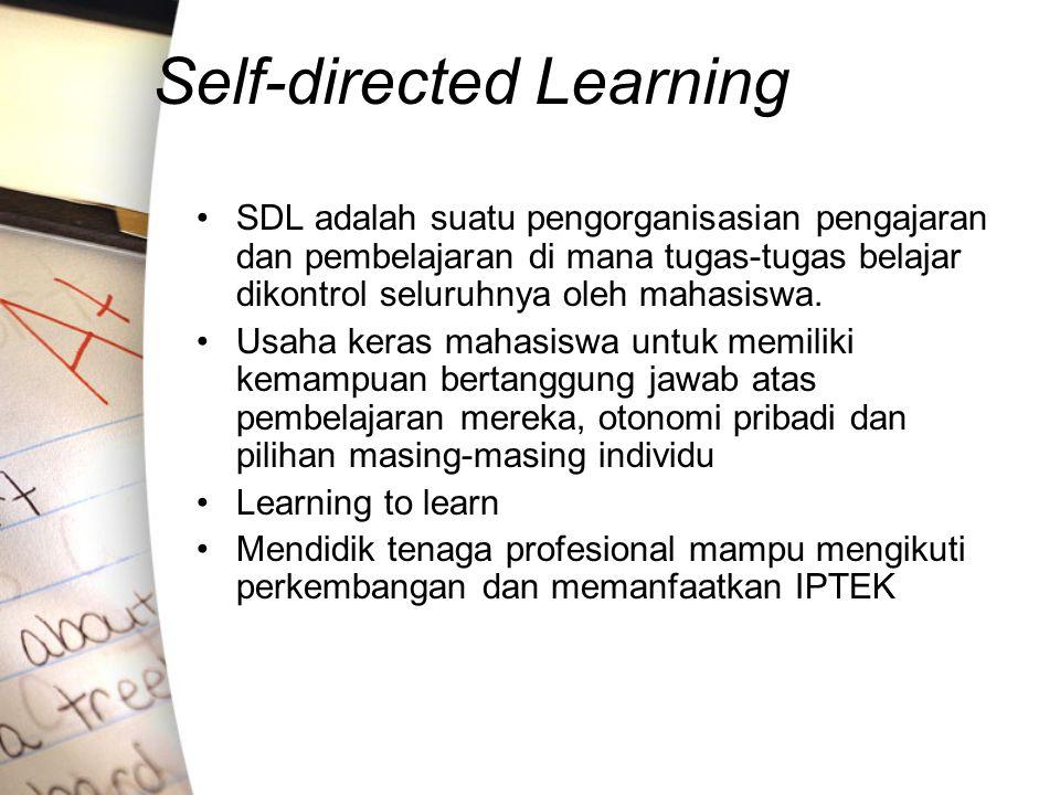 Self-directed Learning SDL adalah suatu pengorganisasian pengajaran dan pembelajaran di mana tugas-tugas belajar dikontrol seluruhnya oleh mahasiswa.