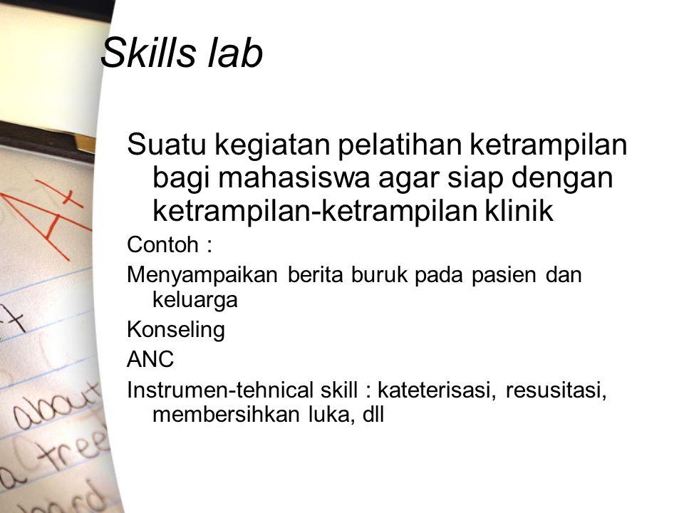 Skills lab Suatu kegiatan pelatihan ketrampilan bagi mahasiswa agar siap dengan ketrampilan-ketrampilan klinik Contoh : Menyampaikan berita buruk pada