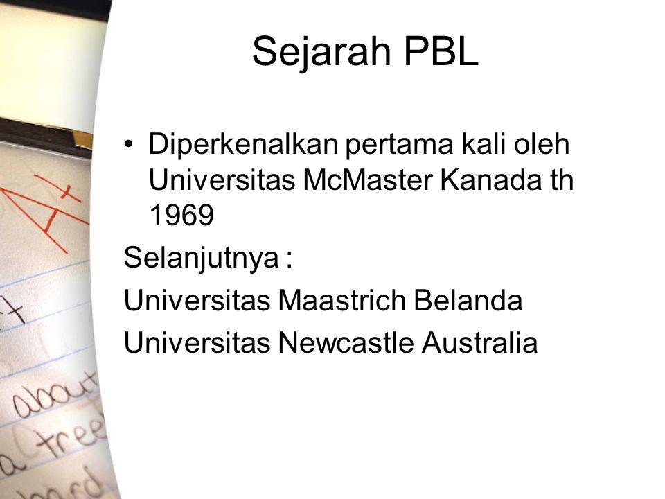 Sejarah PBL Diperkenalkan pertama kali oleh Universitas McMaster Kanada th 1969 Selanjutnya : Universitas Maastrich Belanda Universitas Newcastle Aust