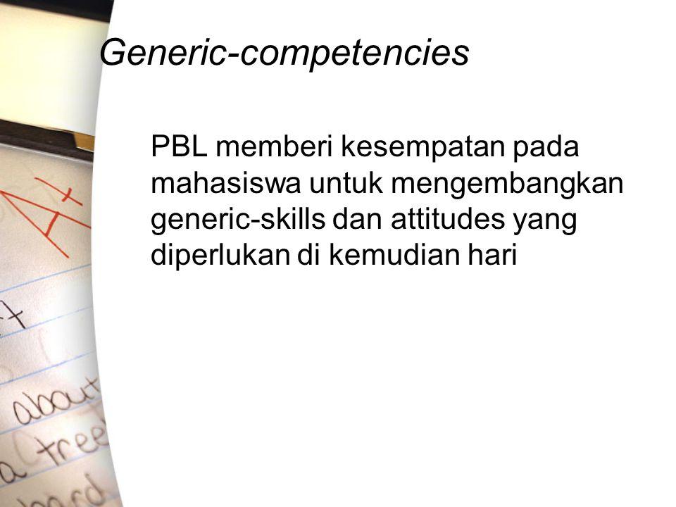 Generic-competencies PBL memberi kesempatan pada mahasiswa untuk mengembangkan generic-skills dan attitudes yang diperlukan di kemudian hari