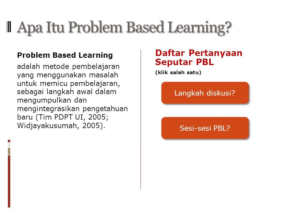 Apa Itu Problem Based Learning? Problem Based Learning adalah metode pembelajaran yang menggunakan masalah untuk memicu pembelajaran, sebagai langkah