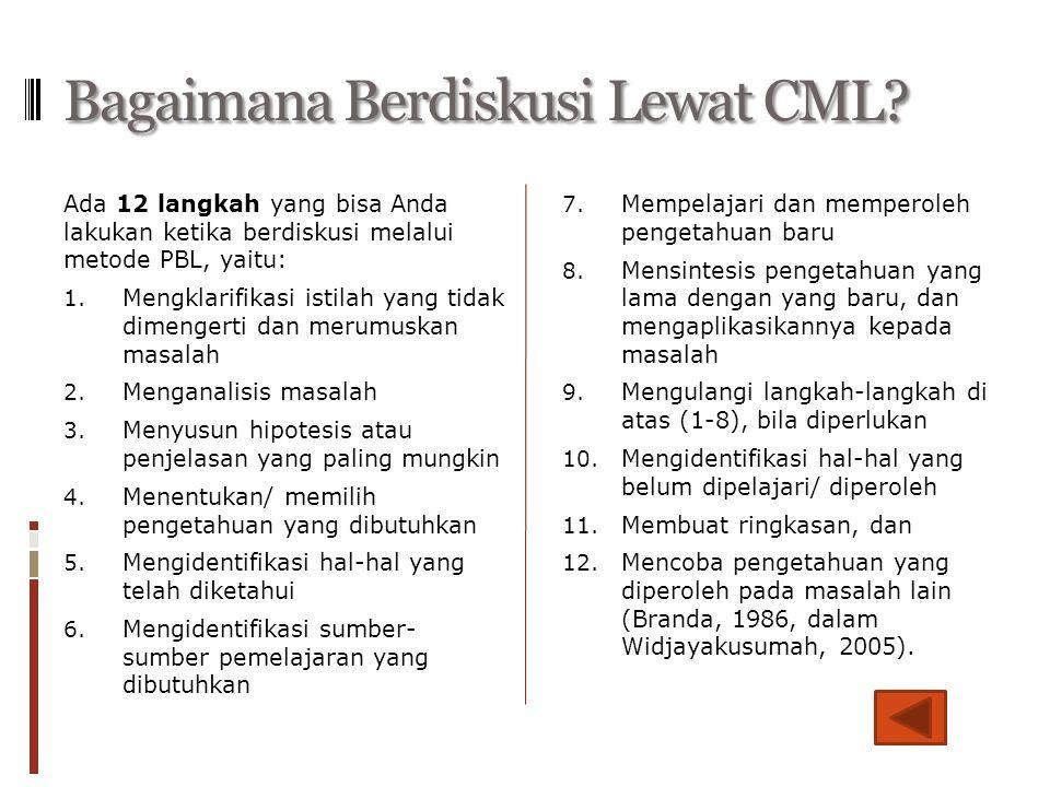 Bagaimana Berdiskusi Lewat CML? Ada 12 langkah yang bisa Anda lakukan ketika berdiskusi melalui metode PBL, yaitu: 1. Mengklarifikasi istilah yang tid