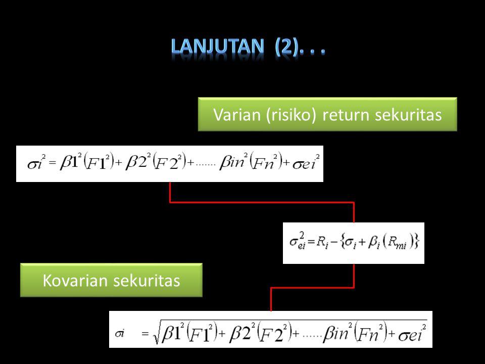 Varian (risiko) return sekuritas Kovarian sekuritas