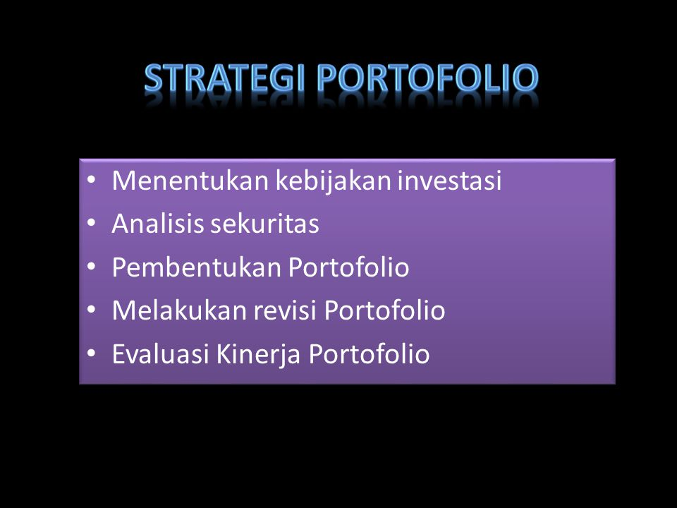 Menentukan kebijakan investasi Analisis sekuritas Pembentukan Portofolio Melakukan revisi Portofolio Evaluasi Kinerja Portofolio Menentukan kebijakan