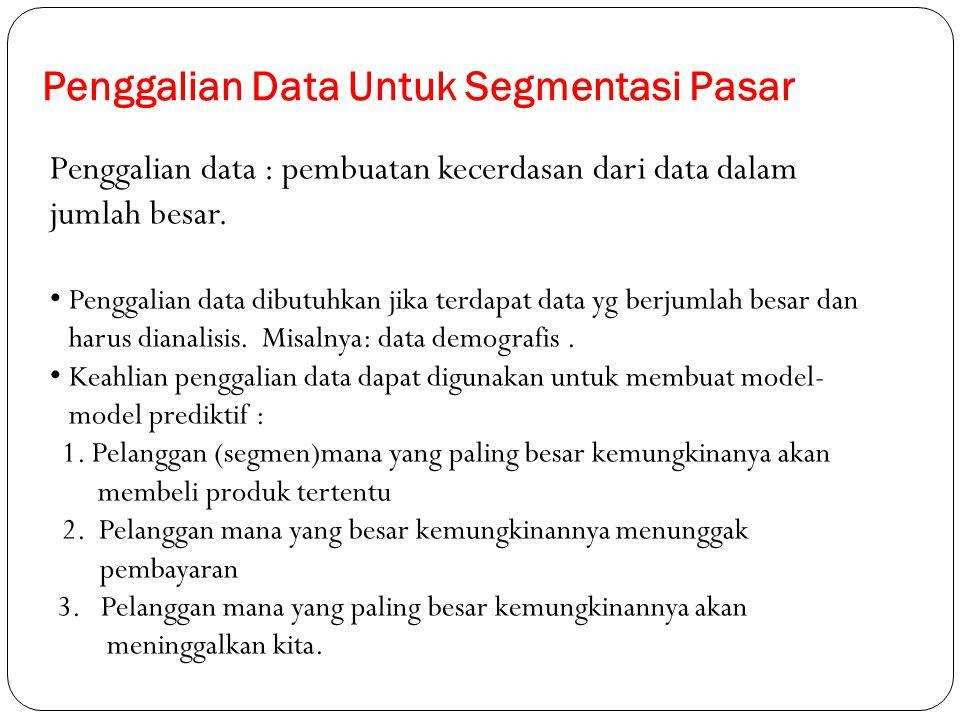 Penggalian Data Untuk Segmentasi Pasar Penggalian data : pembuatan kecerdasan dari data dalam jumlah besar. Penggalian data dibutuhkan jika terdapat d