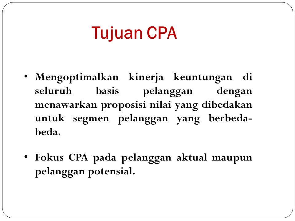 Tujuan CPA Mengoptimalkan kinerja keuntungan di seluruh basis pelanggan dengan menawarkan proposisi nilai yang dibedakan untuk segmen pelanggan yang b