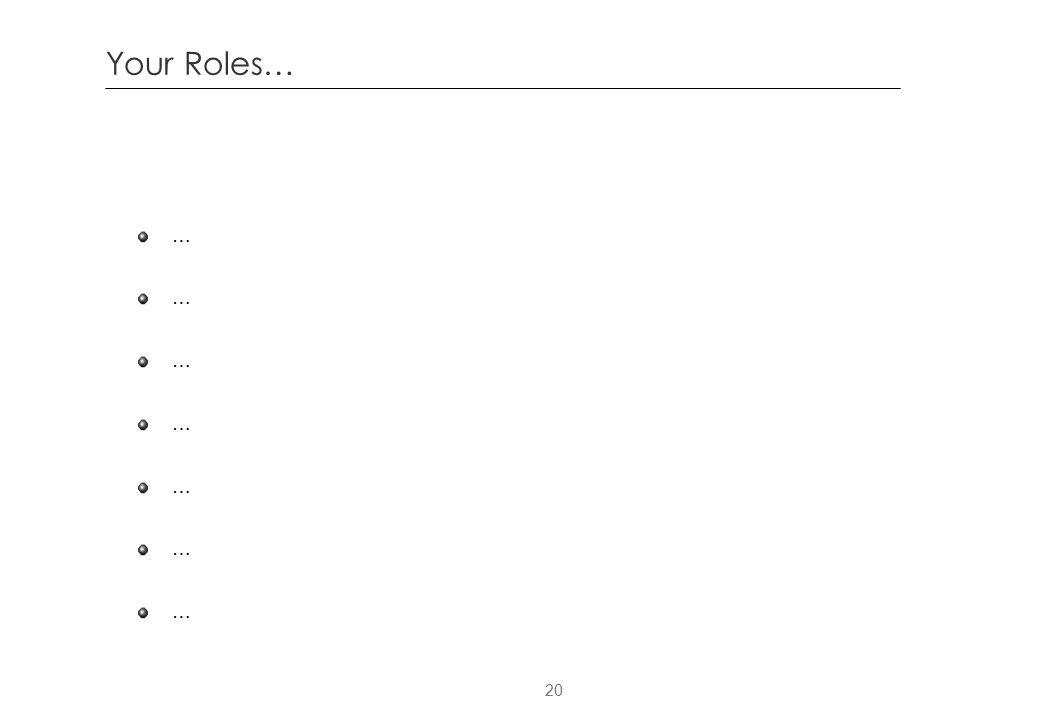20 Your Roles… … … … … … … …