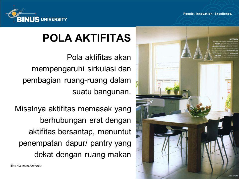 Bina Nusantara University 10 POLA AKTIFITAS Pola aktifitas akan mempengaruhi sirkulasi dan pembagian ruang-ruang dalam suatu bangunan. Misalnya aktifi