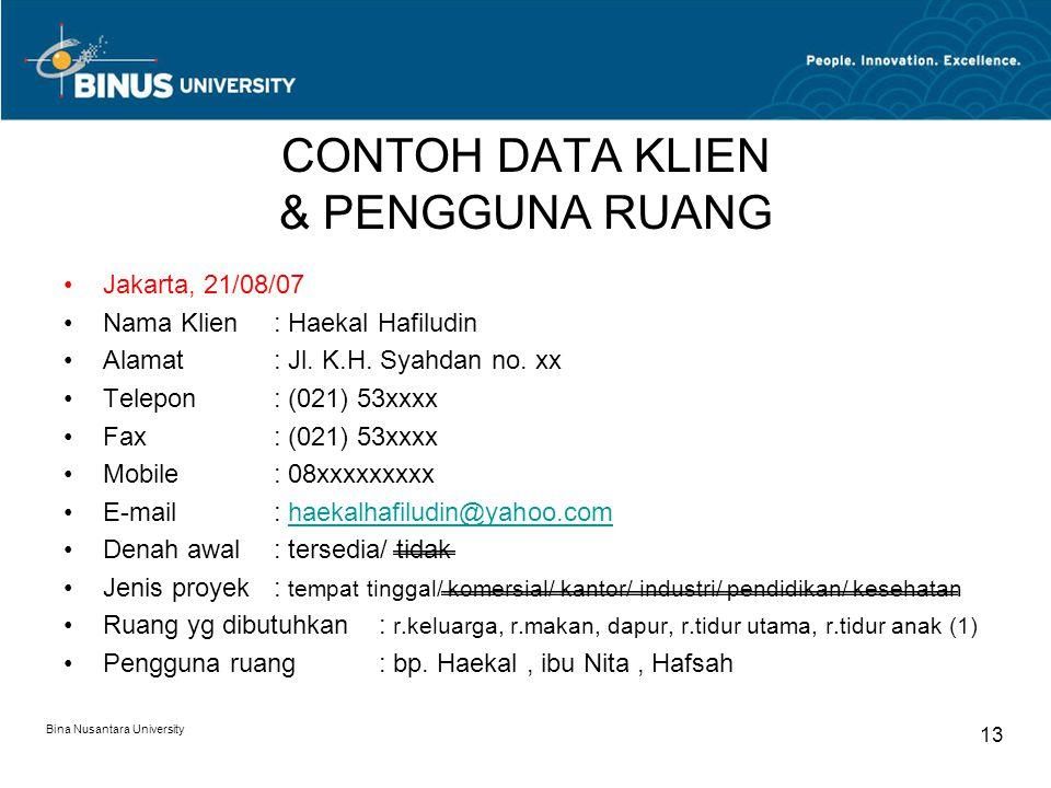 Bina Nusantara University 13 CONTOH DATA KLIEN & PENGGUNA RUANG Jakarta, 21/08/07 Nama Klien: Haekal Hafiludin Alamat: Jl. K.H. Syahdan no. xx Telepon